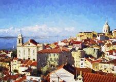 Lissabon landskap samtida oljemålning Arkivfoto