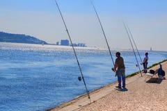 Lissabon, Marksteinsuspendierung 25 von April-Brücke Lizenzfreie Stockfotografie