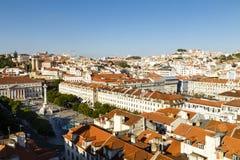 Lissabon med den Rossio fyrkanten, Portugal Arkivbilder