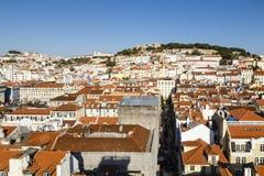 Lissabon med slotten, Portugal Arkivfoto