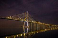 Lissabon-Nacht Stockbild