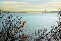 Lissabon op de horizon Stock Foto