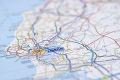 Lissabon op kaart Royalty-vrije Stock Fotografie