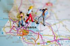 Lissabon op kaart royalty-vrije stock foto's