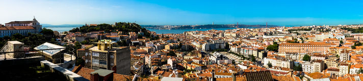 Lissabon panorama Arkivfoton