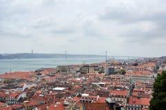 Lissabon panorama som ses från slotten av Sao Jorge Royaltyfria Bilder