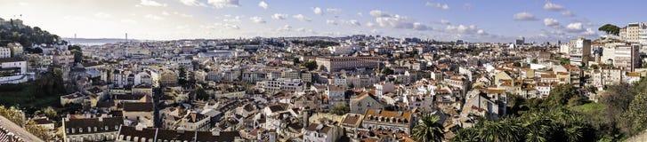 Lissabon panoramautsikt Arkivfoton