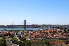 Lissabon, Portugal, 25. der April-Brücke Stockfotos