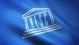 Lissabon, Portugal - Augustus 20, 2016: Unesco-Vlag Royalty-vrije Stock Afbeeldingen