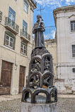 Lissabon, Portugal Beeldhouwwerk voor Santo Antonio Church Stock Afbeeldingen