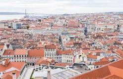 Lissabon Portugal cityscapeTejo flod fotografering för bildbyråer
