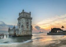 Lissabon Portugal, Europa - sikt av det belem tornet royaltyfri bild