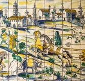 Lissabon Portugal - forntida keramisk tegelplatta, museum Azulejo Fotografering för Bildbyråer