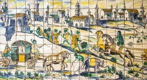 Lissabon Portugal, forntida keramisk tegelplatta, museum Azulejo Royaltyfria Bilder