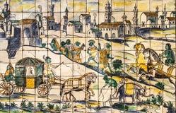 Lissabon Portugal, forntida keramisk tegelplatta, museum Azulejo Arkivfoto