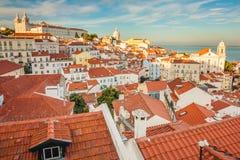 Lissabon, Portugal Het district van Alfama De zonsondergang van de zomer Royalty-vrije Stock Fotografie