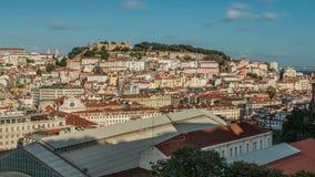 Lissabon Portugal horisont in mot Sao Jorge Castle arkivfilmer