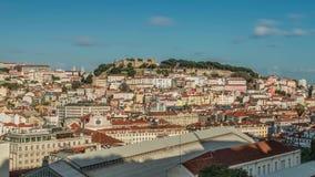 Lissabon Portugal horisont in mot Sao Jorge Castle stock video
