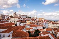 Lissabon Portugal horisontsikt över Alfama Lissabon Royaltyfria Foton
