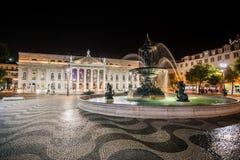 LISSABON, PORTUGAL - 26. Januar 2011: Rossio-Quadrat nachts, Bai Stockfoto