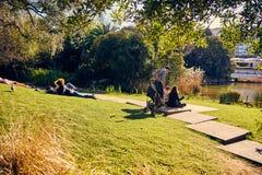 Lissabon Portugal - Januari, 2018 Gulbenkian parkerar och arbeta i trädgården Folket kopplar av i trädgården och tycker om soligt Arkivbild