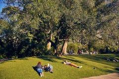 Lissabon, Portugal - Januari, 2018 Gulbenkianpark en tuin De mensen ontspannen in de tuin en genieten van zonnig weer De families stock fotografie