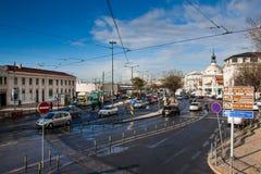 LISSABON, PORTUGAL - Januari 27, 2011: verkeer dichtbij de Barrio-Alt, Lissabon Royalty-vrije Stock Foto