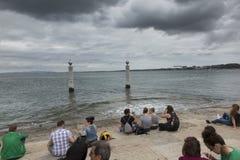 Lissabon, Portugal - Juni 10, 2018: Kust in Praca do Comercio Lis Royalty-vrije Stock Fotografie