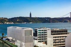 Lissabon, Portugal - Mei 18, 2017: Mening van de Tagus-Rivier van Th Royalty-vrije Stock Afbeeldingen