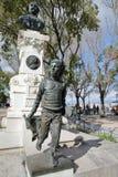 LISSABON, PORTUGAL - NOVEMBER 4, 2017: Close-up op een monument aan Eduardo Coelho bij het gezichtspunt Miradorou van Saopedro de Royalty-vrije Stock Afbeelding
