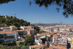 Lissabon sikt av staden Arkivfoto