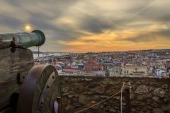 Lissabon sikten från St Jorge Castle Arkivbild