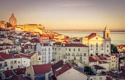 Lissabon solnedgång Royaltyfri Bild