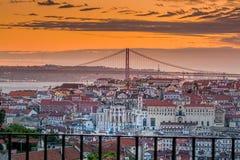 Lissabon solnedgång Royaltyfri Fotografi