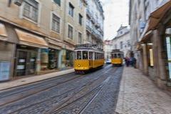 Lissabon spårvagn 28 Arkivfoto