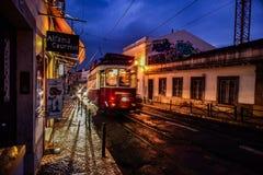 Lissabon spårvagn som går på en rak gata Arkivfoton