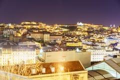 Lissabon stadsantenn på natten Arkivfoto