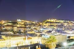 Lissabon stadsantenn på natten Royaltyfri Foto