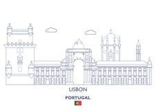 Lissabon stadshorisont, Portugal Royaltyfri Foto