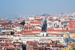 Lissabon-Stadt, Portugal. Aereal-Ansicht am sonnigen Tag Lizenzfreie Stockfotografie
