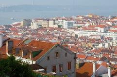 Lissabon-Stadt, Portugal. Aereal-Ansicht am sonnigen Tag Stockfotografie