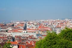 Lissabon-Stadt, Portugal. Aereal-Ansicht am sonnigen Tag Lizenzfreies Stockbild