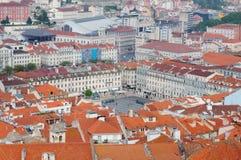 Lissabon-Stadt, Portugal Aereal-Ansicht am sonnigen Tag von San Jorge Castle Lizenzfreie Stockfotografie