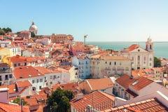 Lissabon-Stadtbild von Lissabon-Stadtbild des Alfama-Bezirkes Lizenzfreies Stockfoto