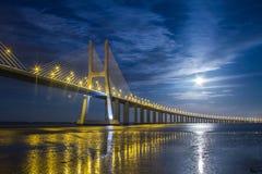Lissabon, Vasco da Gama Bridge stockfoto