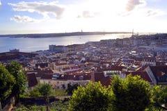 Lissabon von einem Hügel Stockfotografie