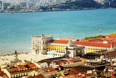 Lissabon-zentrales Quadrat Praca de Comercio, Portugal Lizenzfreies Stockbild