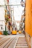 Lissabons Gloria funikulär klassifiziert als Nationaldenkmal offen Lizenzfreie Stockbilder