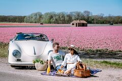 Free Lisse Netherlands ,. Couple Doing A Road Trip With A Old Vintage Sport Car White Porsche 356 Speedster, Dutch Flower Royalty Free Stock Images - 181524909