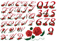 Listów i liczby ustalona czerwona kwiecista ilustracja Obrazy Stock